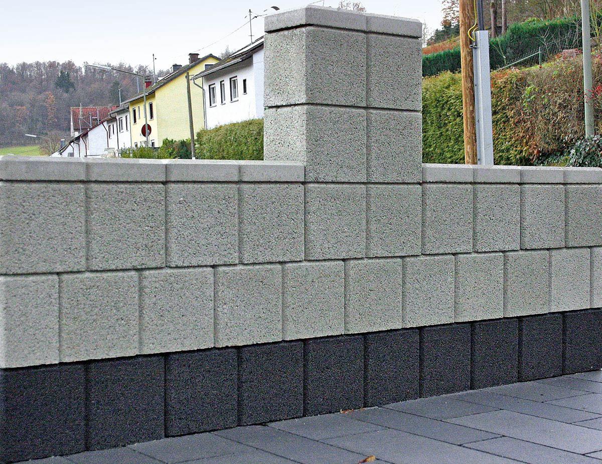 gartenmauer mit gm-abdeckplatte - christoph betonwaren